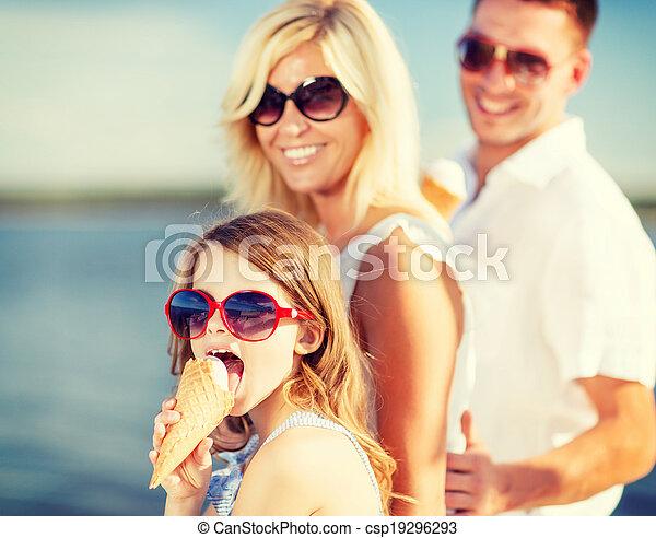 happy family eating ice cream - csp19296293