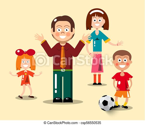 Happy Family Flat Design Vector Illustration. Man, Woman, Boy with Football Ball and Girl - csp56550535