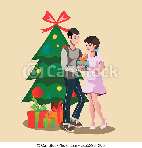 Happy Family Giving A Christmas Gift Vector Illustration Canstock