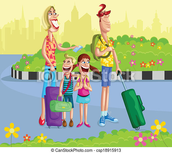 Happy Family Going For Vacation With Travel Bag Vector Clip Art Rh Canstockphoto Com Clipart Free Beach