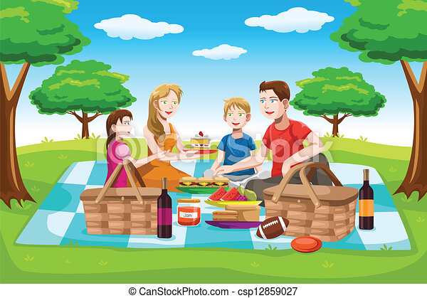 happy family having a picnic a vector illustration of a happy rh canstockphoto com family picnic clipart images family having a picnic clipart