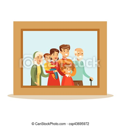 Happy Family Having Good Time Together Framed Photo Portrait Illustration