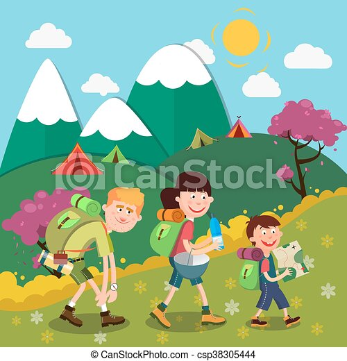 Happy Family Hiking On The Mountains Family Weekend Vector