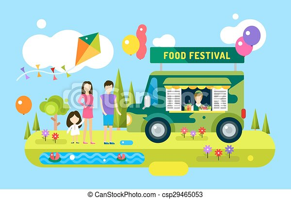 Happy Family Holiday Or Weekend Summer Time Natural Healthy Food Premium Product Car Mobile Vector