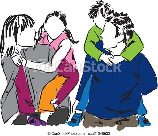 happy family illustration - csp21048533