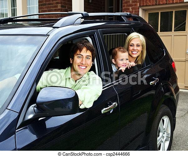 Happy family in car - csp2444666