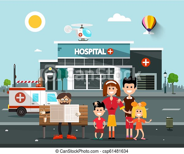 Happy Family In front of Hospital Building with Old Man Reading Newspapers on Bench.  Vector Flat Design Cartoon. - csp61481634