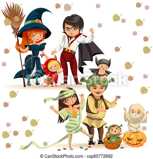 Halloween Costumes 07726.Happy Family In Halloween Costumes Poster Vector Illustration Cartoon Funny Children And Parents In Various Dresses