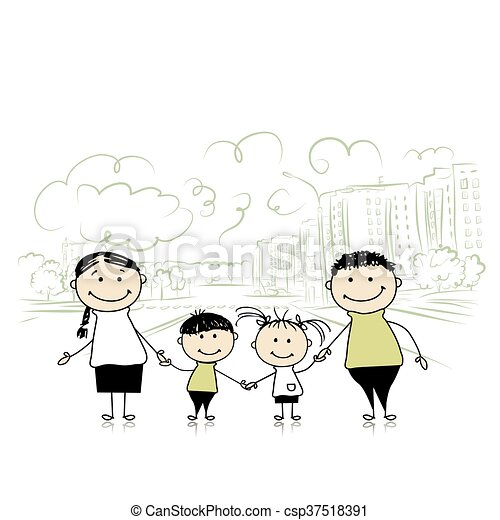 Happy family in the city. Sketch for your design - csp37518391