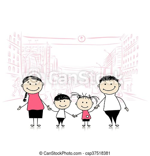 Happy family in the city. Sketch for your design - csp37518381