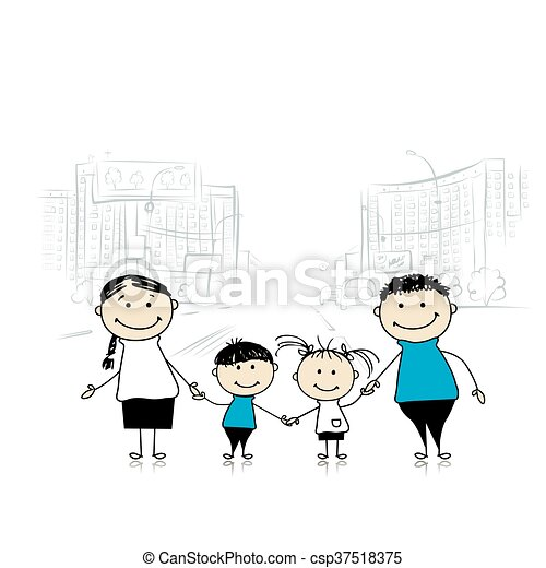 Happy family in the city. Sketch for your design - csp37518375