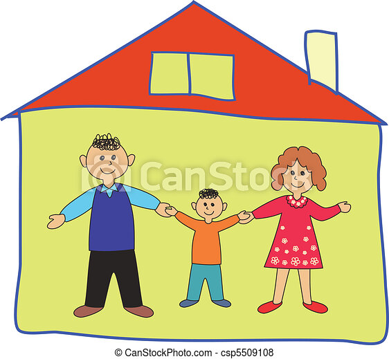 Happy Family In The Home Cartoon Illustration