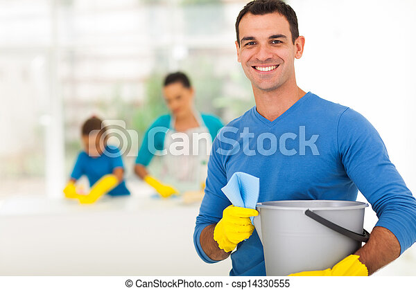 happy family man cleaning home with family - csp14330555