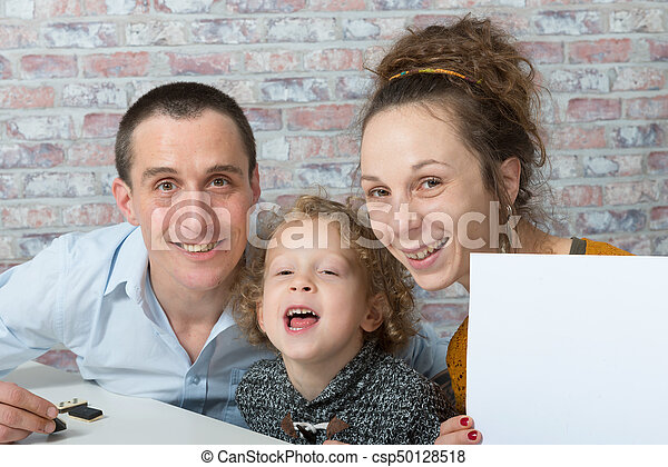 happy family, mother, father, child - csp50128518