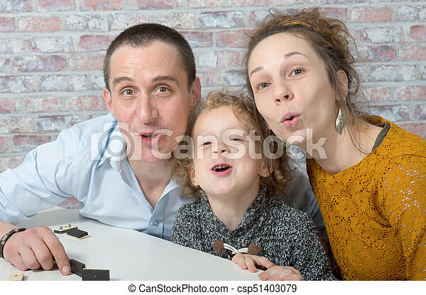 happy family, mother, father, child - csp51403079