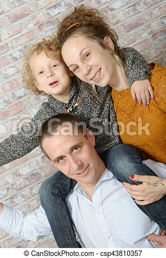happy family, mother, father, child - csp43810357