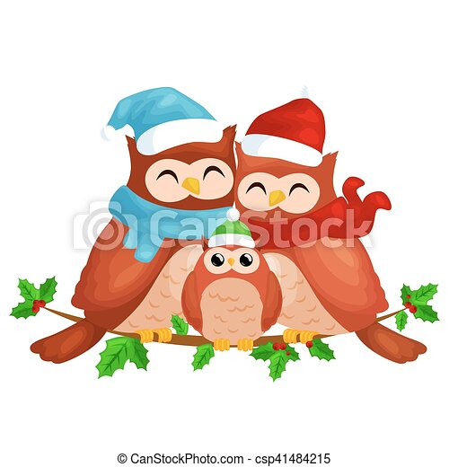 happy family of owls mom dad and baby in a warm hat and scarf sitting on a branch and enjoys the eve of christmas and new year by candlelight vector