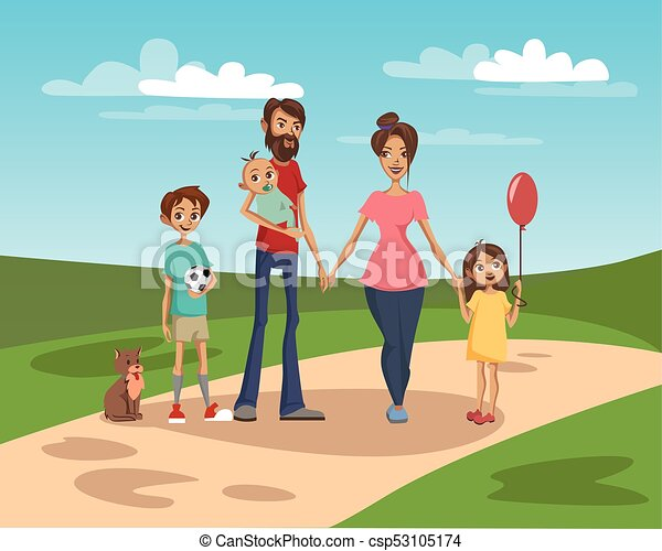 Happy family on a background of nature scenery vector Illustration - csp53105174
