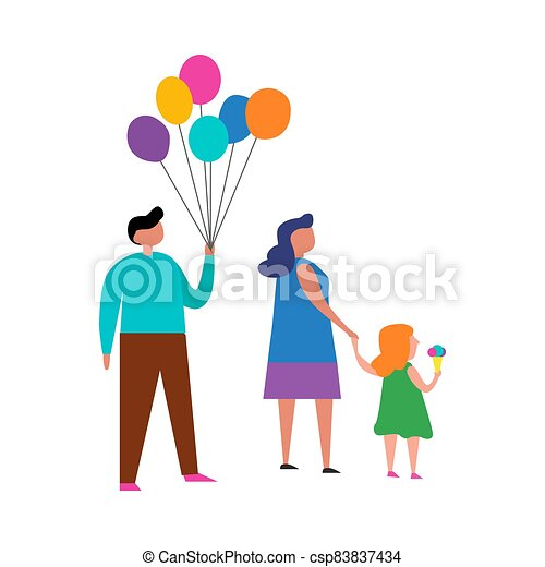 Happy family on a white background. Vector illustration. - csp83837434