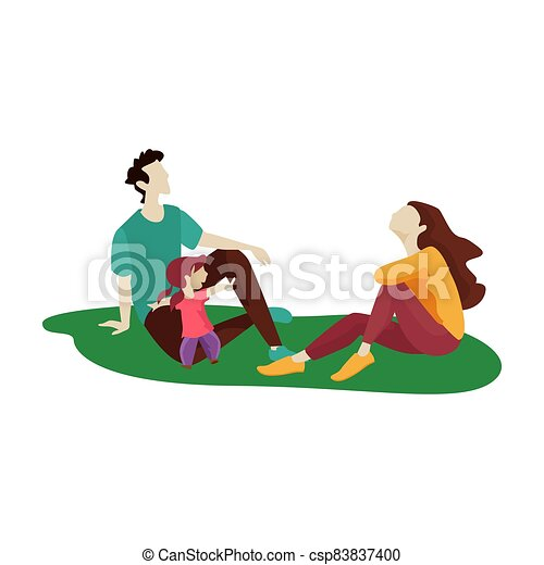 Happy family on a white background. Vector illustration. - csp83837400
