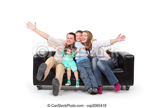 Happy family on black leather sofa - csp3065418