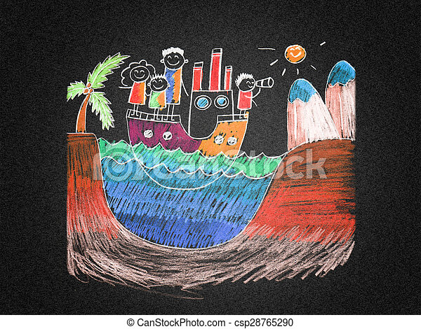 Happy family on cruise trip in ship - csp28765290