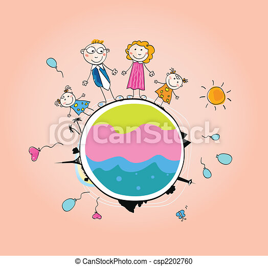 Happy family on Earth – VECTOR - csp2202760