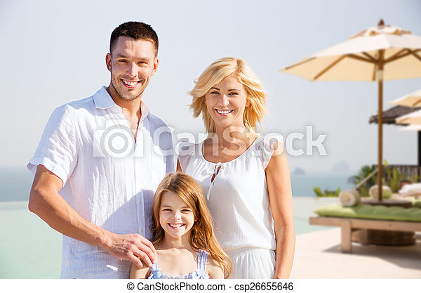 happy family on summer vacation at resort beach - csp26655646
