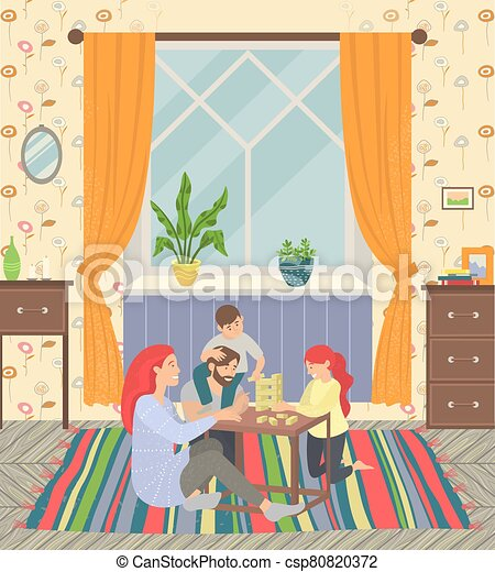 Happy Family, Parents and Children Play at Home - csp80820372