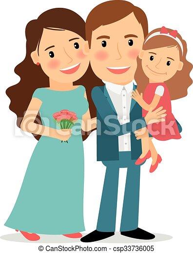 happy family portrait mom dad and little daughter vector illustration. Black Bedroom Furniture Sets. Home Design Ideas