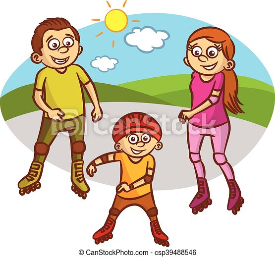 happy family roller skates vector illustration happy eps vector rh canstockphoto com happy family picture clipart happy family clipart images