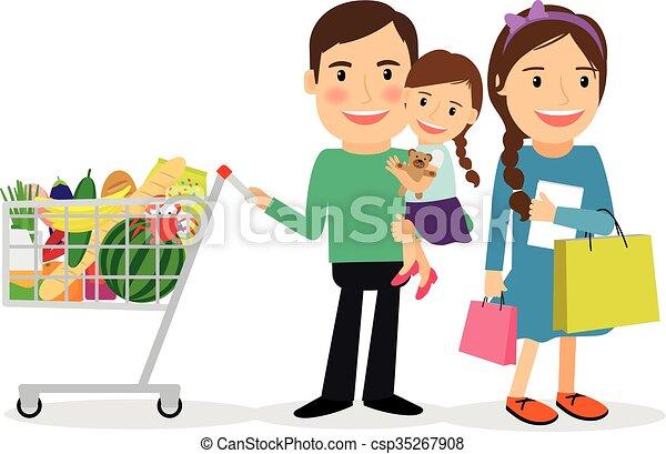 Happy Family Shopping Vector