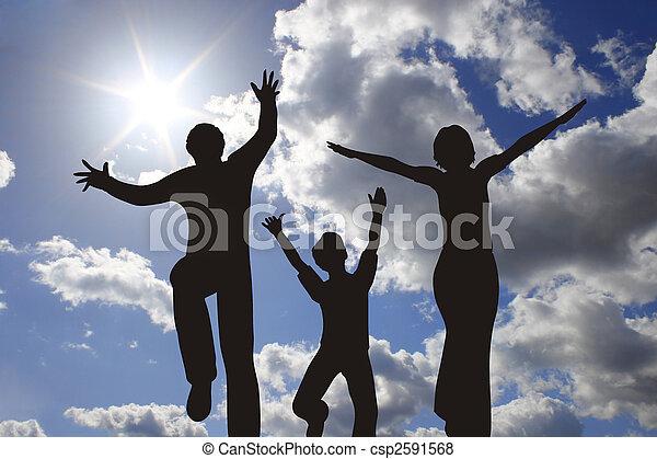 happy family silhouette on sunny sky - csp2591568