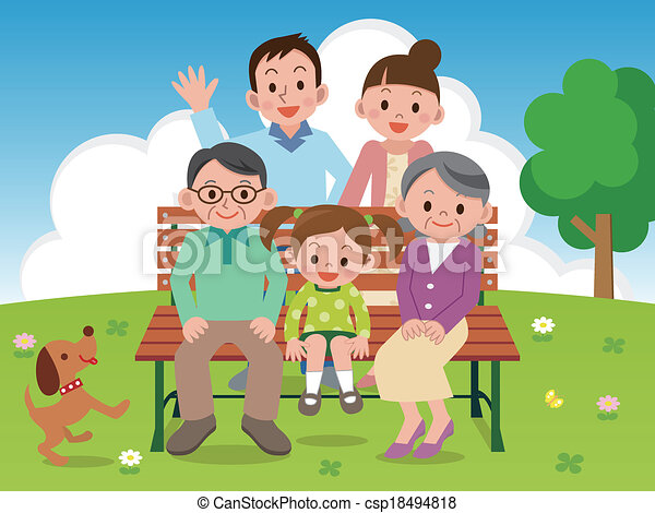 Happy family sitting on a park benc - csp18494818