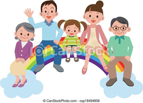 Happy family sitting on the rainbow - csp18494806