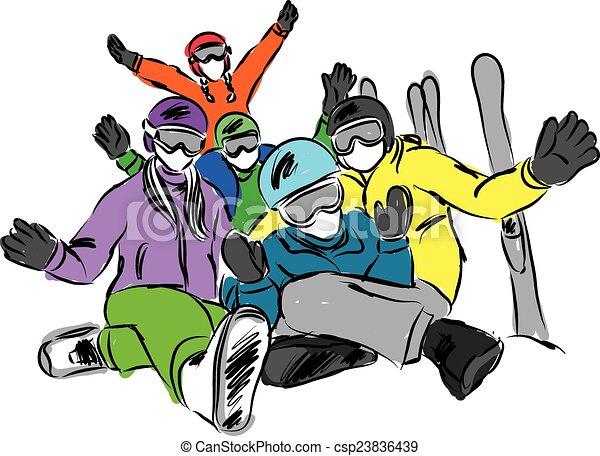 Happy family ski illustration.