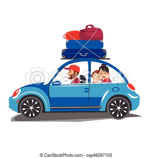 Happy Family Travel In A Car The Go Out Of Town For Vacation World