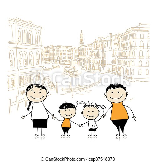 Happy family traveling in Venice. Sketch for your design - csp37518373