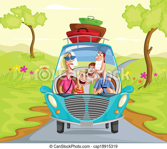 Happy family travelling in car - csp18915319