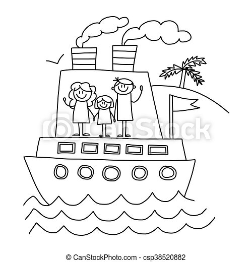 Happy Family Vacation Kids Drawing
