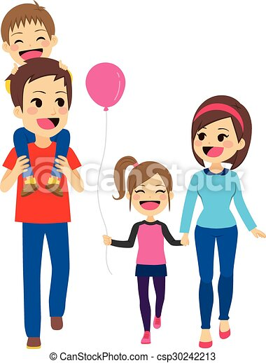 happy family walking cute happy four member family walking rh canstockphoto com free clipart family members