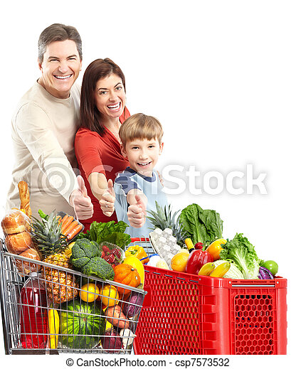 Happy family with a shopping cart. - csp7573532