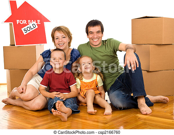 Happy family with cardboard boxes moving in a new home - csp2166760