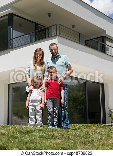 happy family with children in the yard - csp48739823