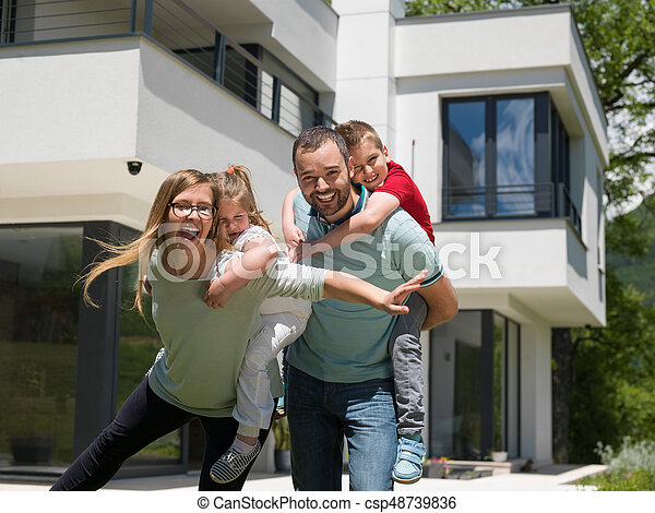 happy family with children in the yard - csp48739836