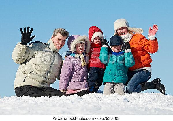 happy family with children in winter - csp7936403