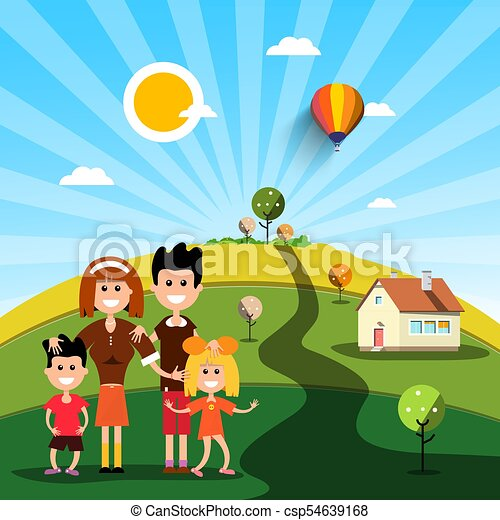 Happy Family with House on Sunny Day on Field - csp54639168