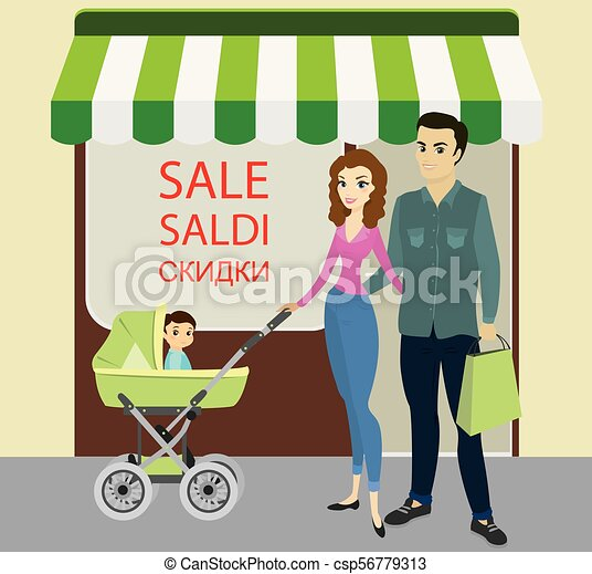 Happy family with newborn baby near store - csp56779313