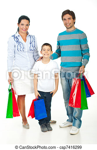 Happy family with shopping bags - csp7416299