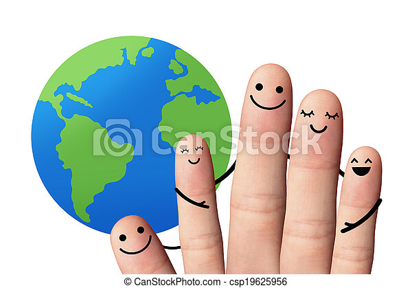 Happy family with the earth, isolated with clipping paths. - csp19625956